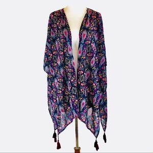 Sheer BoHo moroccan floral cover-up kimono